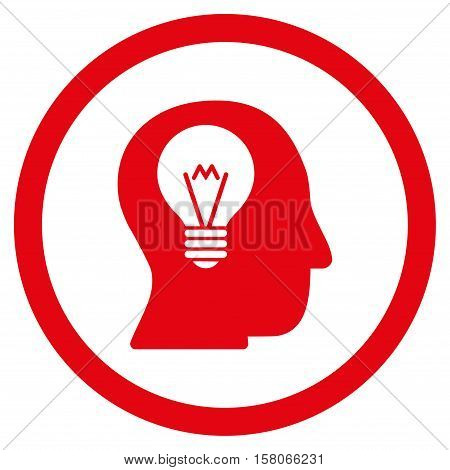 Intellect Bulb vector rounded icon. Image style is a flat icon symbol inside a circle, red color, white background.