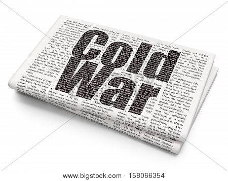 Political concept: Pixelated black text Cold War on Newspaper background, 3D rendering