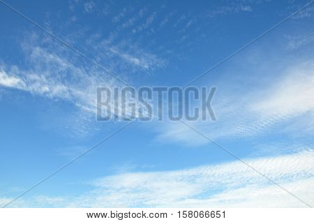 White clouds on the blue sky, ripple