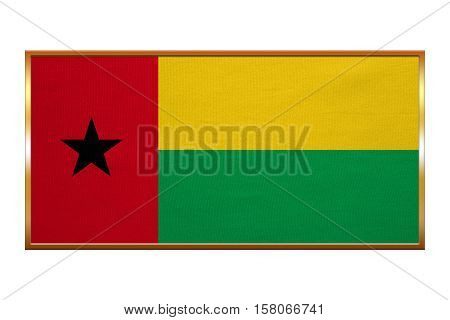 Bissau-Guinean national official flag. Patriotic symbol banner element background. Correct colors. Flag of Guinea-Bissau golden frame fabric texture illustration. Accurate size colors