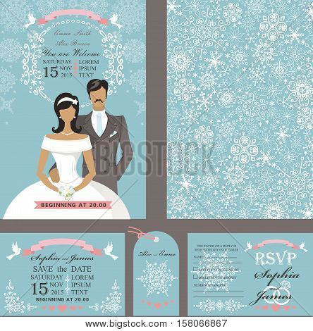 Wedding design template set.Winter, Christmas season.Bride in white dress and groom, snowflakes ornament, ribbon and pigeons.Flat people .Holiday, New year invitation, save date, RSVP and tag. Vector Illustration