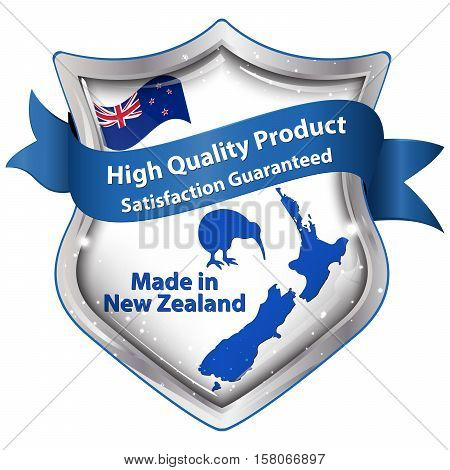 Made in New Zealand, High Quality Product, Satisfaction guaranteed - ribbon with the map of New Zealand and kiwi bird.
