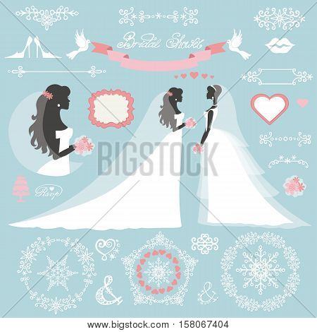 Wedding.Bride in Different dress style.Winter  Bridal shower decor set.Cartoon woman , Swirling borders, wreath frame ribbon, icons, label.Invitation Design template.Vintage Vector, flat fashion