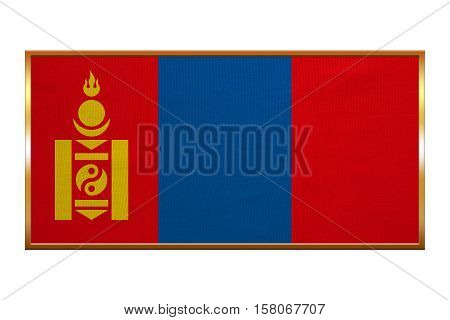 Mongolian national official flag. Patriotic symbol banner element background. Correct colors. Flag of Mongolia golden frame fabric texture illustration. Accurate size colors