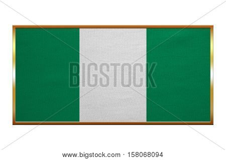 Nigerian national official flag. African patriotic symbol banner element background. Correct colors. Flag of Nigeria golden frame fabric texture illustration. Accurate size colors