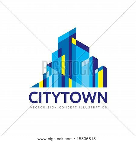 City town - real estate logo template concept illustration. Abstract building cityscape sign. Skyscrapers icon. Design element.