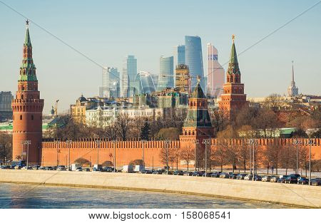 View of the Moscow Kremlin, Kremlin embankment and Moscow City