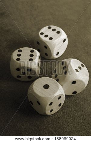close up of the dices on table