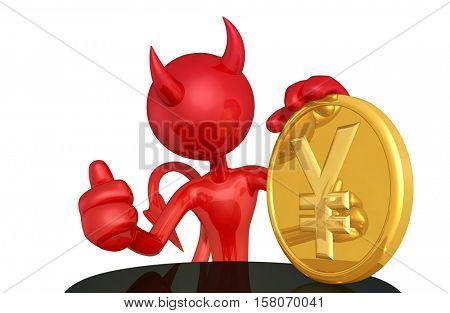 Devil Character With Coin 3D Illustration