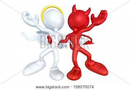 Angel And Devil Character Together 3D Illustration