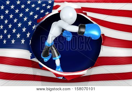 American Flag Concept With The Original 3D Character Illustration Boxing