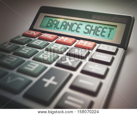 Solar calculator with the word BALANCE SHEET on the display. 3D illustration concept image of Business and Finance.