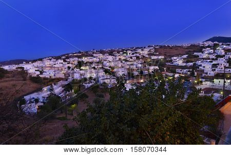 night landscape of Apollonia Sifnos Cyclades Greece