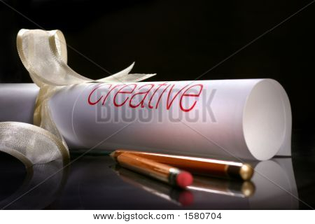 Creative Scrolling On White Ribbon