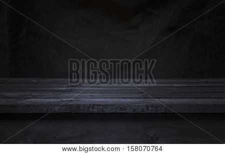 Dark wooden board table for product display montage black wooden perspective interior