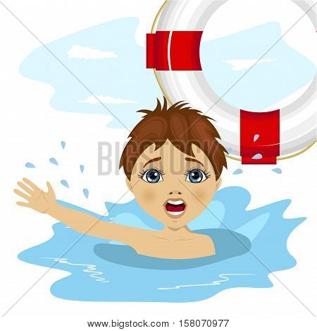 young boy screaming in water while somebody throws a ring buoy lifebuoy