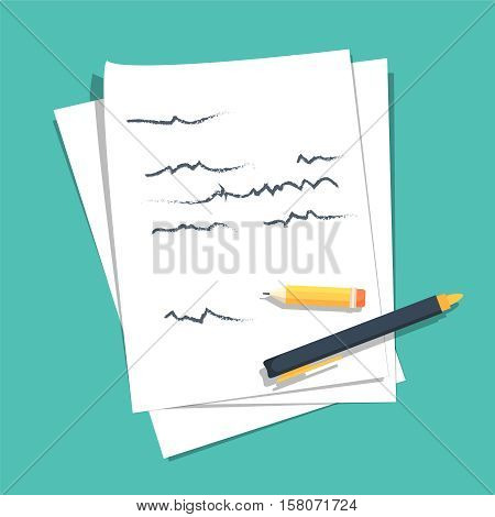 Paper sheets pile with abstract written text with pen and pencil top vector illustration, concept or writing letter, message, education, author workplace isolated on color background