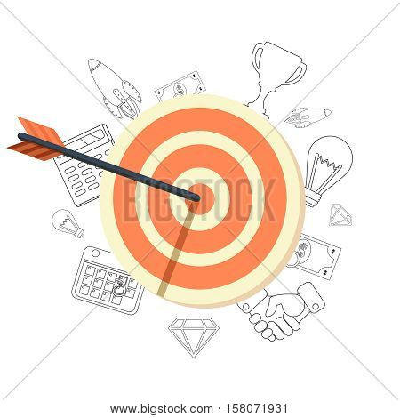 Target bullseye or arrow flat icon. Flat design modern vector illustration concept.