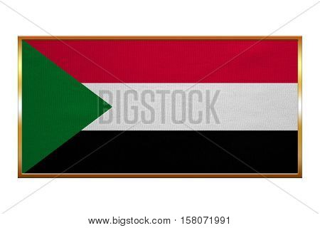 Sudanese national official flag. African patriotic symbol banner element background. Correct colors. Flag of Sudan golden frame fabric texture illustration. Accurate size colors