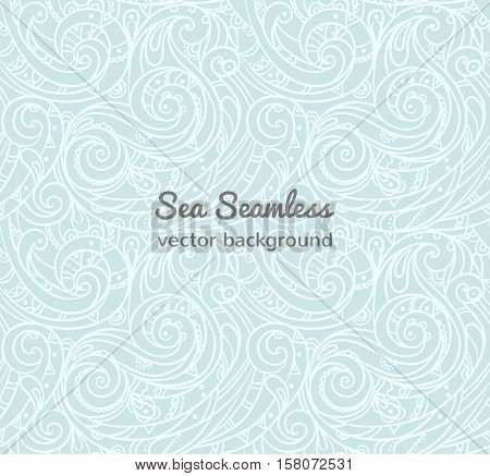Seamless sea vector blue wave line pattern, sea background.