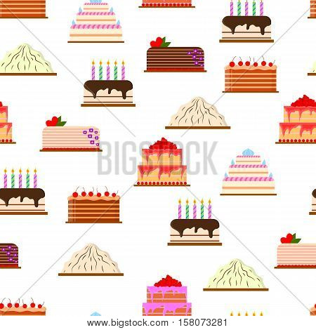 Set of cakes in flat style. Seamless pattern. Delicious fresh pastries. Icon for cafes, pastry shops, wedding salon. White background. Vector illustration.