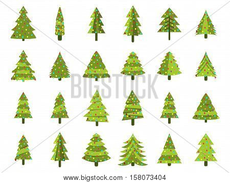 Christmas Trees In A Flat Style. Decorated Christmas Tree. Fir Trees Isolated On White Background. V