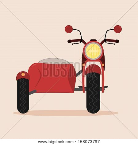 Vintage motorcycle with sidecar. Isolated illustration. Red color.