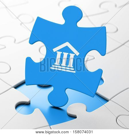Law concept: Courthouse on Blue puzzle pieces background, 3D rendering