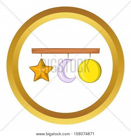 Crib mobile vector icon in golden circle, cartoon style isolated on white background
