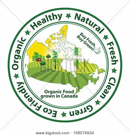 Organic food grown in Canada - stamp for print. Contains the map of the Canada with agricultural field on the background.