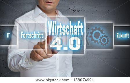 Wirtschaft 4.0 (in German Economy, Progress, Future) Touchscreen Concept Background