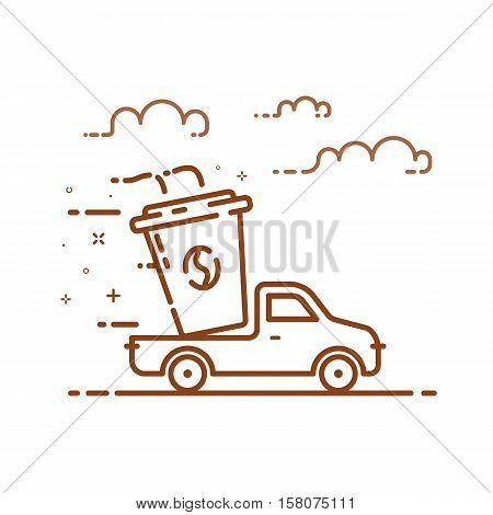 Vector illustration of icon concept coffee delivery service in line style. Linear motion brown truck with cup of flavor coffee. Outline graphic idea use in Web Project and Applications.