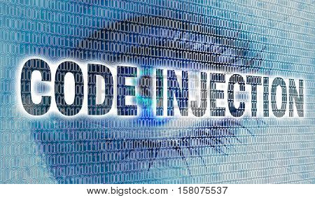 Code injection eye with matrix looks at viewer concept.