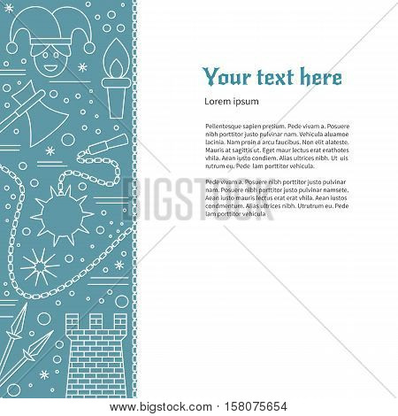 Poster flyer with medieval thin line icons symbols. Jester spears medieval tower torch flail morning star axe chain. Vector template with medieval design elements and place for your text.
