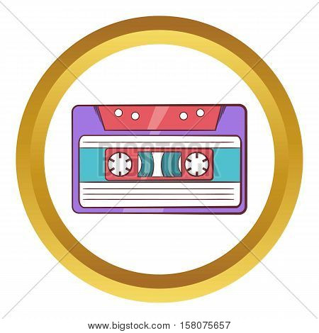 Cassette tape vector icon in golden circle, cartoon style isolated on white background