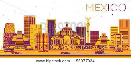 Mexico Skyline with Color Buildings. Business Travel and Tourism Concept with Modern Architecture. Image for Presentation and Banner.