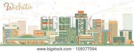 Abstract Wichita Skyline with Color Buildings. Business Travel and Tourism Concept with Modern Architecture. Image for Presentation Banner Placard and Web Site.