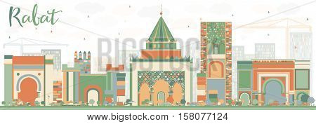 Abstract Rabat Skyline with Color Buildings. Business Travel and Tourism Concept with Historic Architecture. Image for Presentation Banner Placard and Web Site.