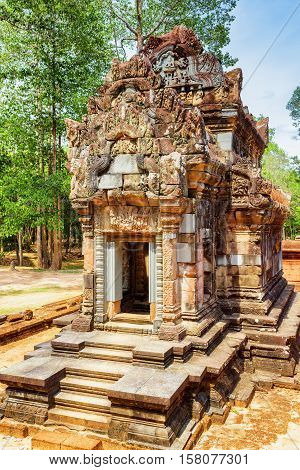 Ancient Library Building Of Thommanon Temple, Angkor, Cambodia