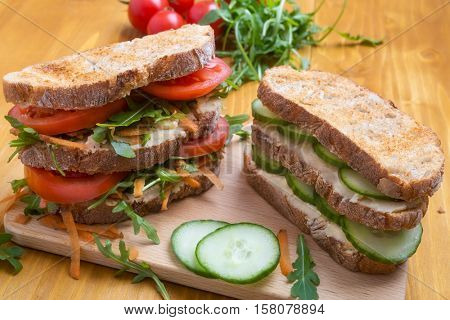 Pile of Healthy Vegetarian Sandwiches