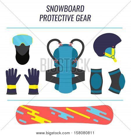 Snowboard protective gear icon set. Safety equipment tools isolated on white background. Winter sport concept. Vector illustration.