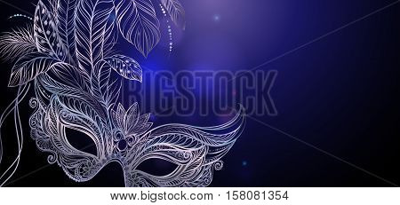 Vector Illustration. Silver carnival mask with feathers. Beautiful background for greeting card, party invitation, banner or flyer.