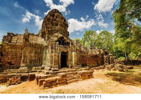 Ancient Gopura Of Ta Som Temple In Angkor, Cambodia