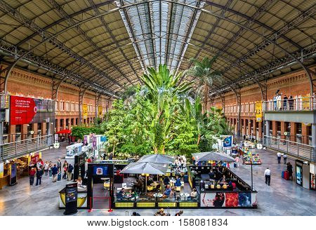 Madrid, Spain - October 8, 2016: Covered tropical garden inside the old building of Atocha railway station.