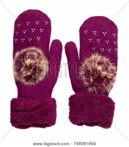 Mittens Isolated On White Background. Knitted Mittens. Mittens Top View.dark Red Mittens