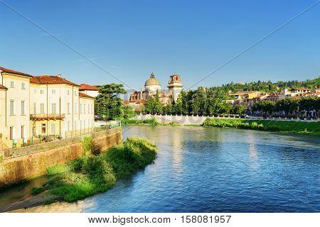 View Of Adige River And Church Of San Giorgio In Braida, Verona