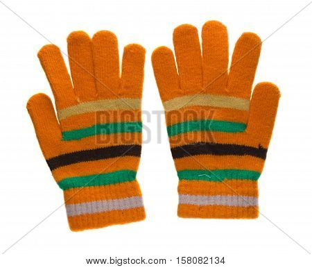 Knitted Gloves. Gloves Isolated On White Background. Gloves A Top View.yellow Gloves In Green Black