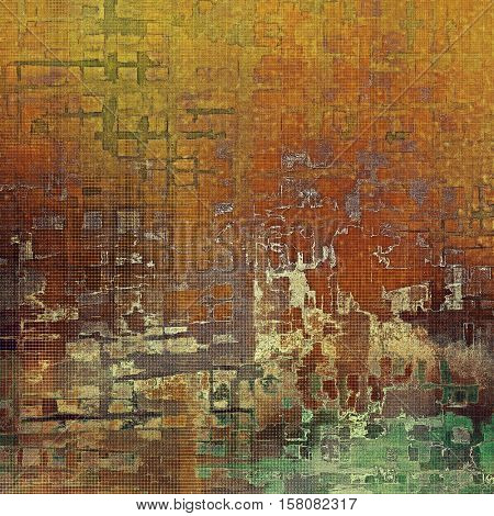 Vintage style designed background, scratched grungy texture with different color patterns: yellow (beige); brown; gray; green; red (orange)