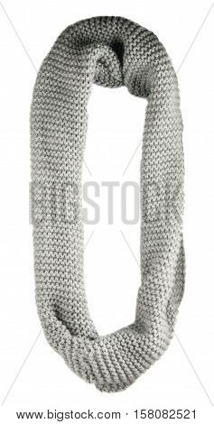 Scarf Isolated On White Background.scarf  Top View .grey Scarf