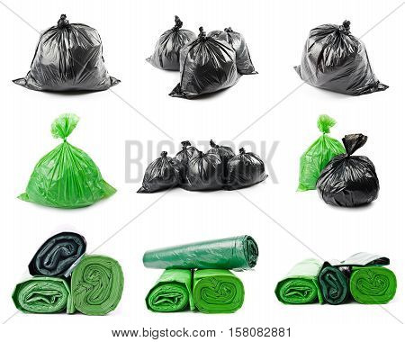 A set of colored garbage bags isolated on white background. Collage of green and black garbage bags.